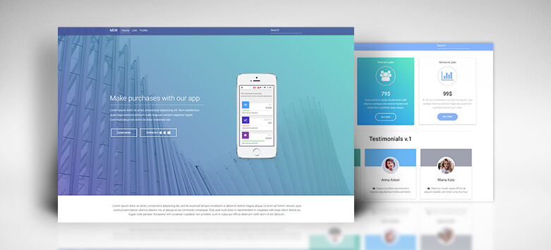 Material Design for Bootstrap - sections