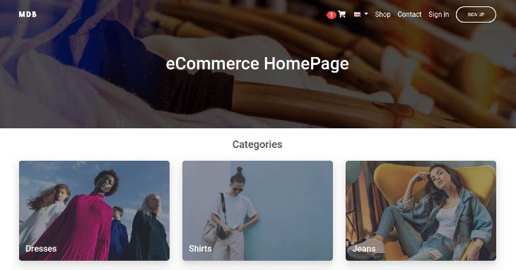 Example eCommerce Homepage
