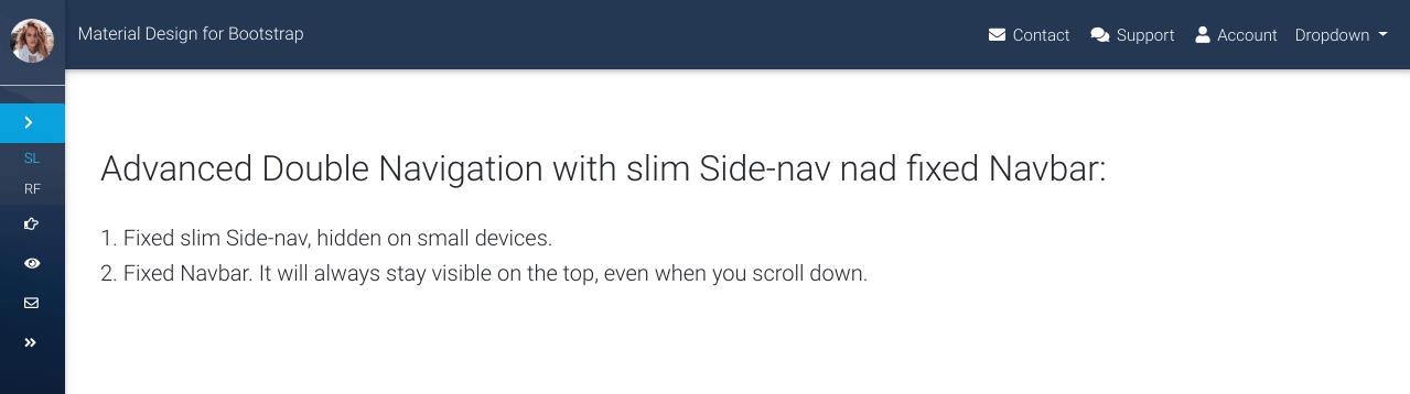 Website with a regular fixed Navbar.