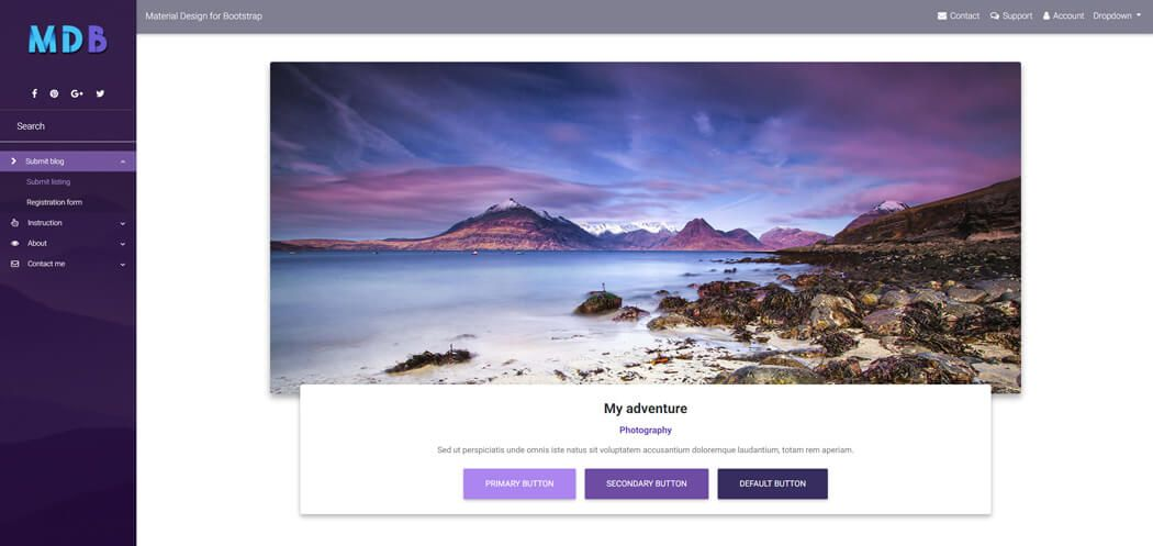 Material Design for Bootstrap deep purple skin