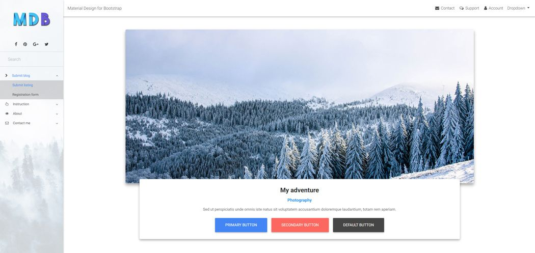 Material Design for Bootstrap white skin
