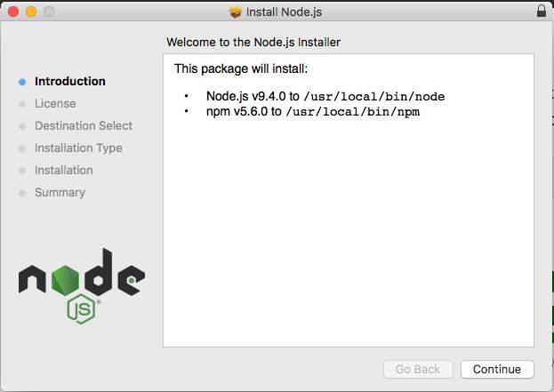 macOS Node.js installation