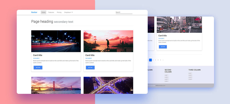 Two Columns Listing - Material Design for Bootstrap