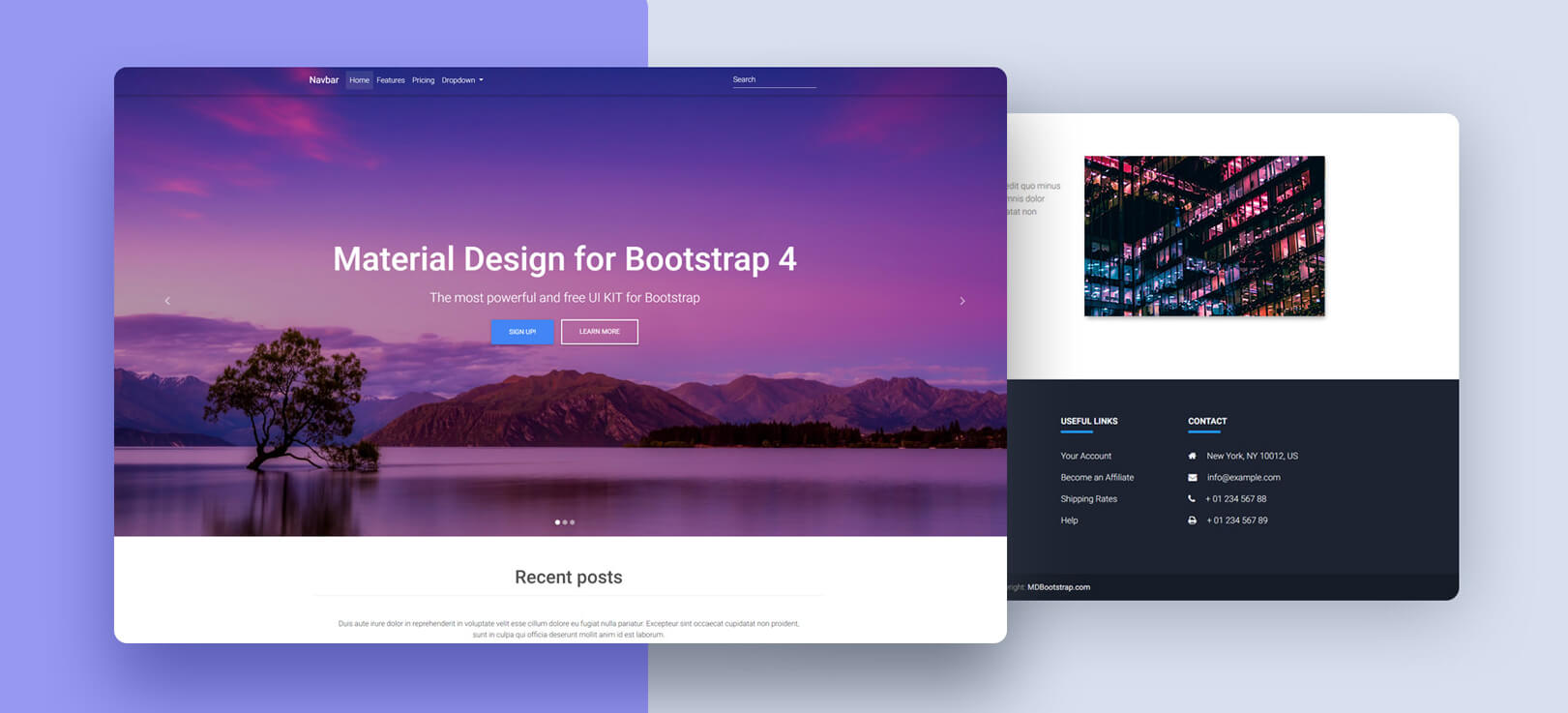 Full Page Image Carousel Material Design For Bootstrap