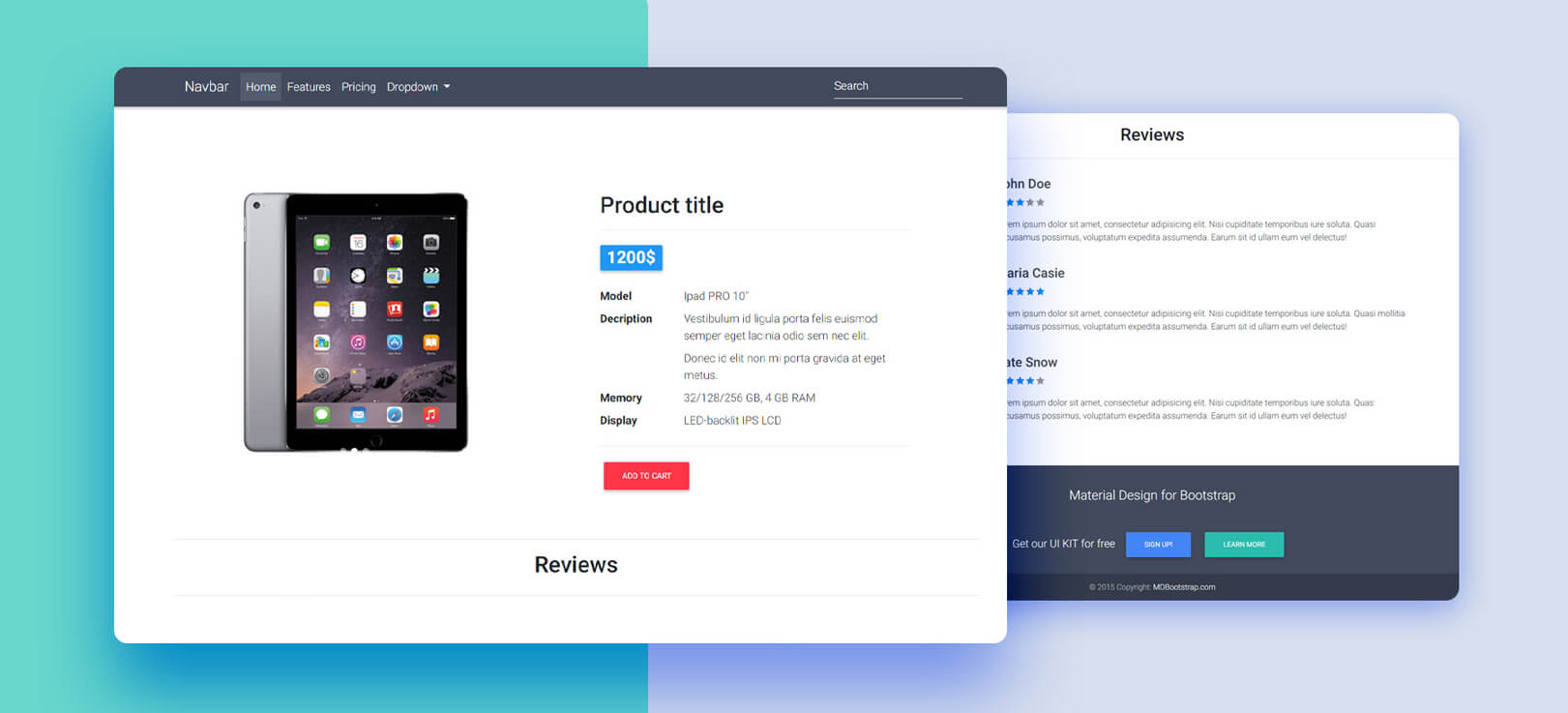 Ecommerce Template - Bootstrap 4 & Material Design