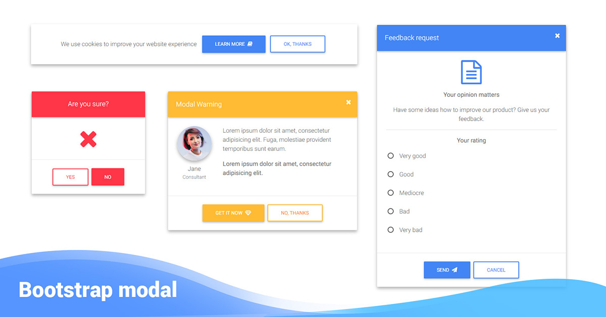 Bootstrap Modal Examples Tutorial Basic Advanced Usage Material Design For Bootstrap