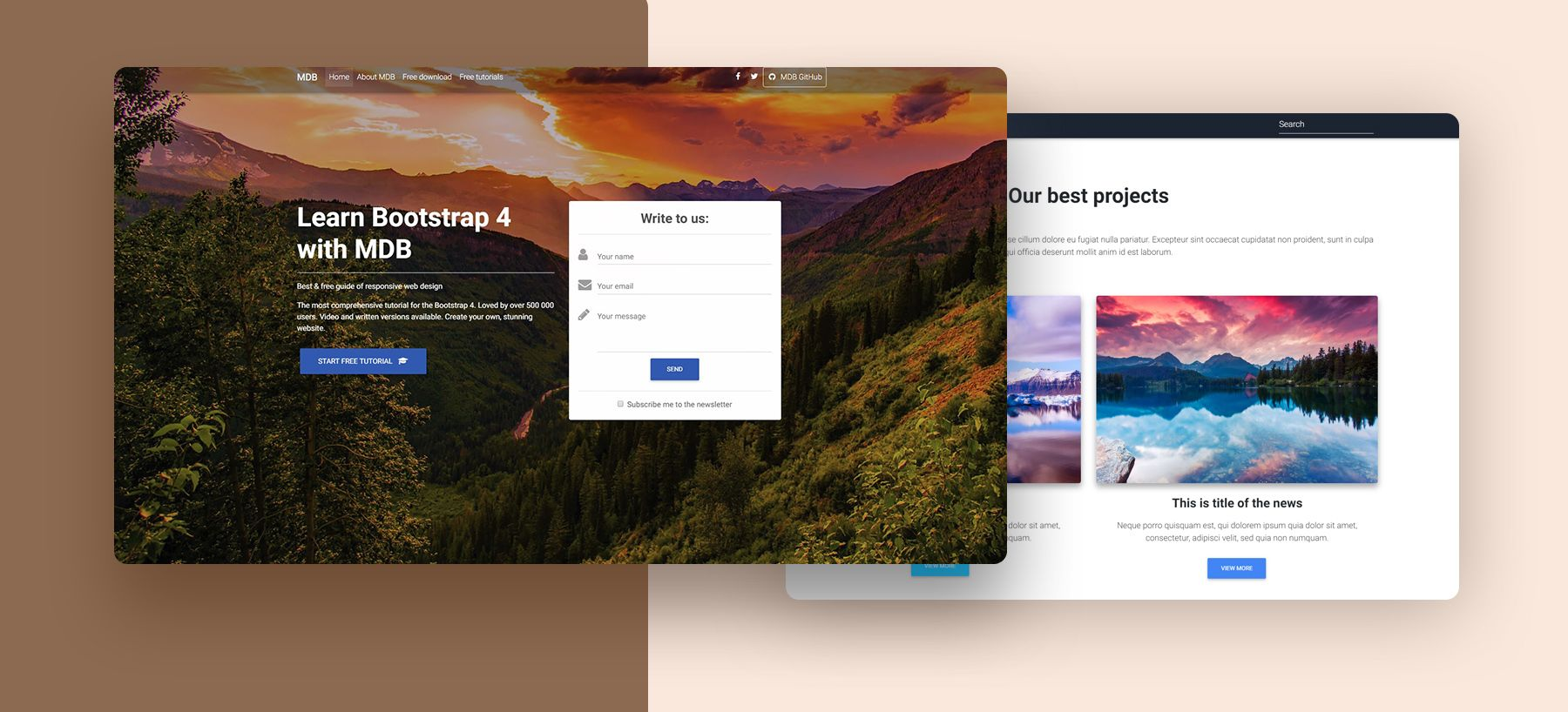 Landing Page Template - Bootstrap 4 & Material Design