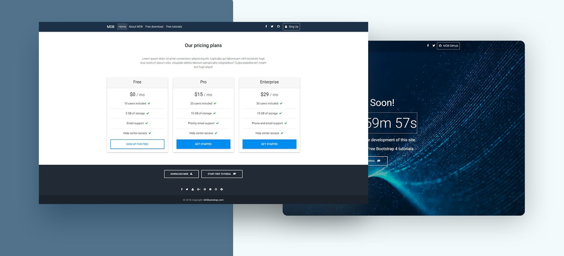 Saas Template - Bootstrap 4 & Material Design