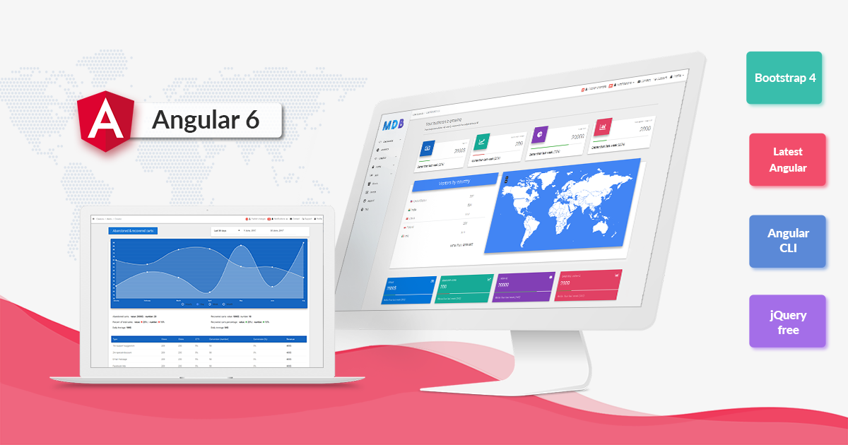 Angular 6, Bootstrap 4 and Material Design - Powerful and free UI KIT.